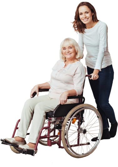 woman assising senior woman on wheelchair